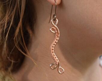 Woven Copper Earrings