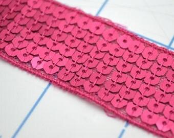 Hot Pink Sequin 1 Inch Wide Trim - 1 Yd