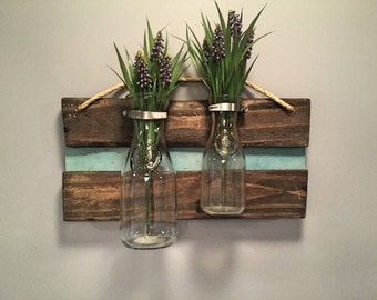 Reclaimed Wood Hanging Vases