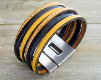 Men and women leather Cuff Bracelet black and yellow. Loving money 30MM plate clasp.