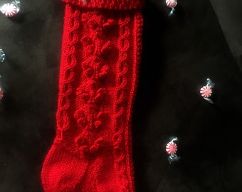Fisherman Cable Knit Christmas Stocking