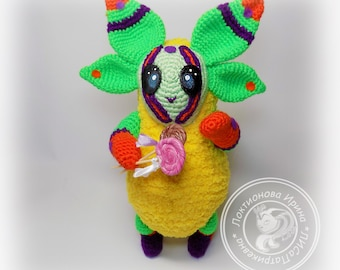 Knitted toys crochet,soft toy alien pet,Toy colorful.