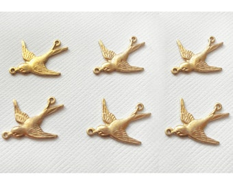 6 Small Swallow Charms - 2 Ring Left Facing