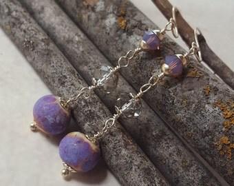 Crystal Earrings - Crystal Dangle Earrings - Lilac Earrings - Purple Earrings - Swarovski Earrings - Lampwork Bead Earrings - Lampwork Beads