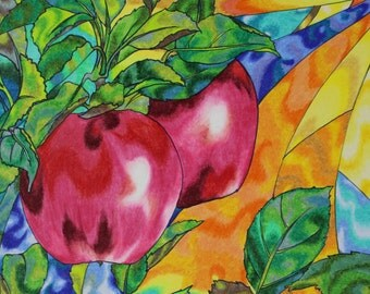 """Ink and Colored Pencil print.  """"Apples"""""""