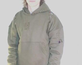 Olive distressed oversized hoodie