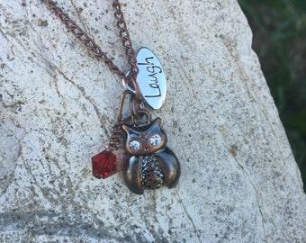 Owl Charm Necklace w/Swarovski Crystal