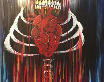 Wear my heart original acrylic painting by sm