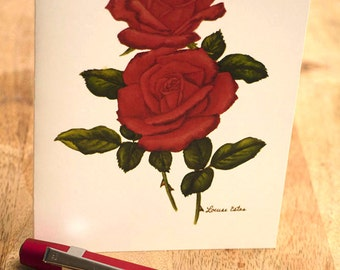 "Red Rose ""Dublin"" Stationery by Widely Acclaimed Artist Louise Estes"