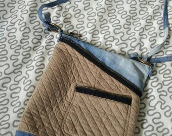 Upcycled Crossbody Purse Fully lined with cotton