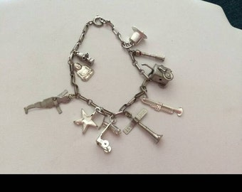 Vintage Sterling Silver Charm Bracelet - Moveable Charms - Beautiful