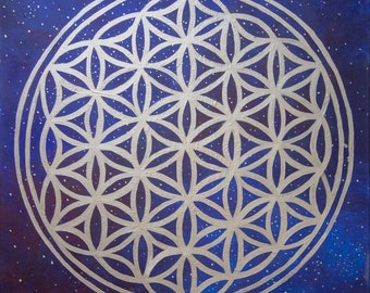 Flower of Life Sacred Geometry Constellation Acrylic Mixed Media Painting on Canvas by Breanna Deis