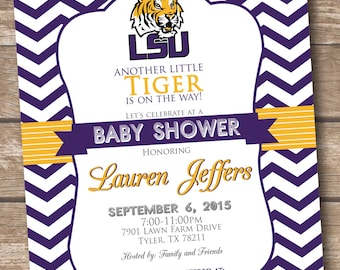 LSU Tiger Baby Shower Invitation - Printable