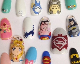 Anime/Characters - Custom permanently wearable nails *Thumbs ONLY