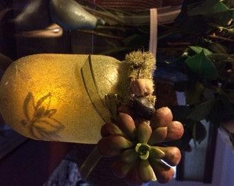 Succulent Garden Theme Mason Jar Lantern
