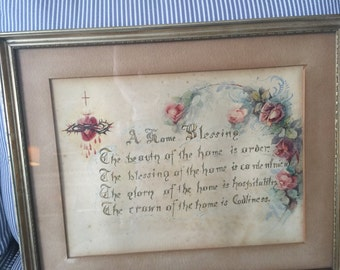 Antique original calligraphy and watercolor