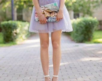 Lilac mini tulle skirt