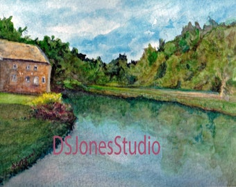Signed Print of Watercolor -  A Summer in Pennsylvania (Grings Mill, Reading PA)