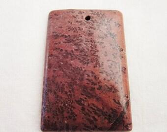 Fern Painting Jasper Tan Rectangular Stone Pendant