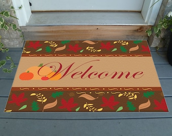 "Decorative Fall Welcome Mat - 36"" x 24"" with Fall Leaves Border; Customization available!"