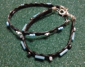 Two braided horse hair bracelets
