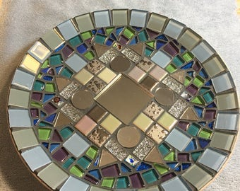 Mirrored mosaic plate