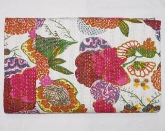 Indian Handmade Tropical Print Kantha Bedspread Queen