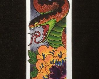 Snake & Peony, Hebi, japanese print, giclee on 310gsm etching paper