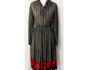 Sheer Black 80s Dress with White Stripes and Red Floral Hemline