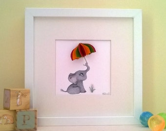 Baby's Room Art - Baby Elephant holding Brolly - Children's Playroom - Baby's Bedroom Art - Baby Animal Print - 3D Nursery Art - Baby Shower
