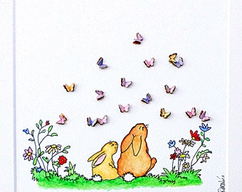 Baby Bunnies Nursery Art - Colourful watercolour of Bunnies and Butterflies - New Baby Gift - Nursery Ideas - Baby Shower Gift