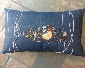 Reggie - Denim contemporary fish cushion