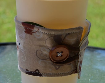 Brown Cat Cup Cozy, Cat Cup Sleeve, Reusable Cat Cup Cozy, Fabric Cup Cozy