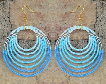 Handmade Blue/Hues of Blue Beaded Hoop Earrings