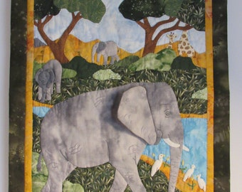 Elephants on the savannah quilted wall hanging