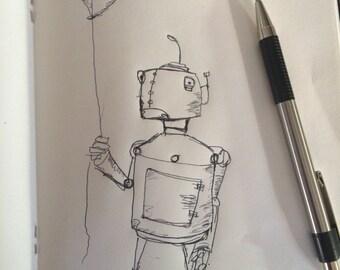 Adorabot 2- Cute Robot Sketch- Original Artwork