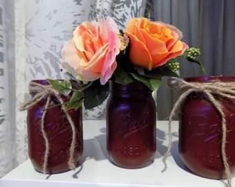 Mason Jars Painted Set of 3