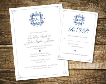 The Leila Wedding Invitation and RSVP Card -  I Customize, You Print!