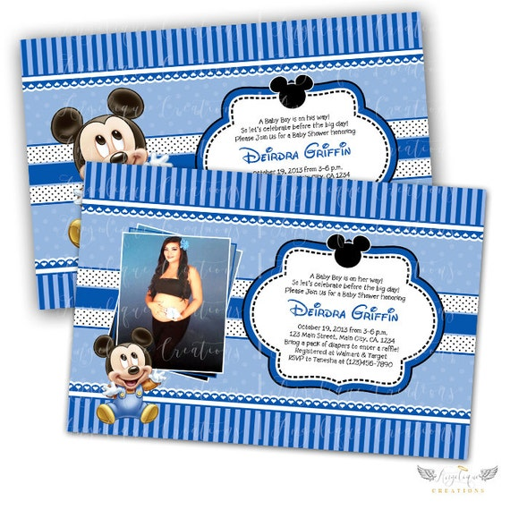Baby Mickey Baby Shower Invitations & Blank Thank You Card to match