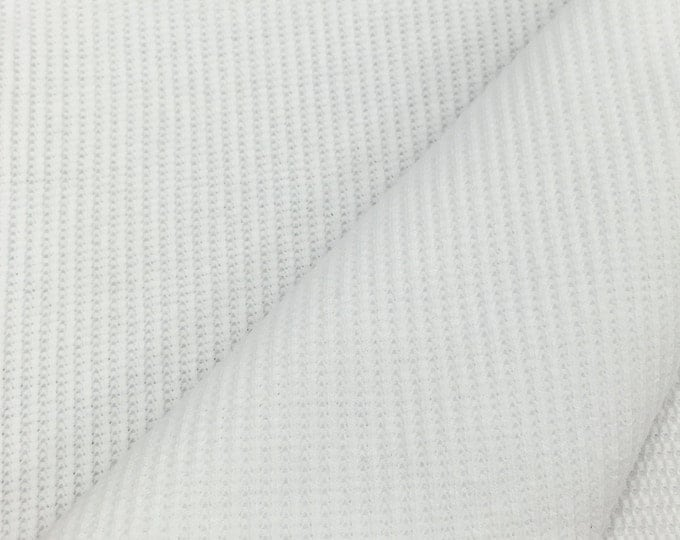 Stretchy Thermal Knit Fabric By the Yard (Wholesale Price Available By the Bolt) USA Made Premium Quality - 7386 White - 1 Yard