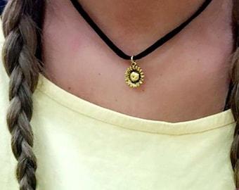 Sunflower Choker- Black Suede Choker- Sunflower Necklace