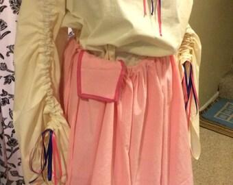 Pink Long Skirt With Hidden Pocket