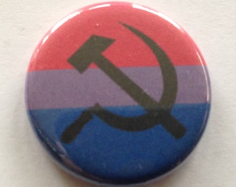 """5 Pack Bisexual Pride Hammer and Sickle 1.25"""" Pinback FREE SHIPPING USA"""
