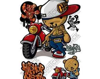 Cute Hip Hop Rap Teddy Harry Bear Devil Iron on Stickers Heat Transfer Paper Patches Skull Biker Motorcycle Funny Jdm Design T Shirt HHB02