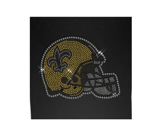 Fleur-de-lis Detailed Football Helmet TEAM Sport Rhinestone Iron on Transfer Baseball Softball Baseketball Logo Appliques Hotfix for Clothes