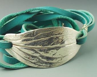 Leather Wrap Bracelet, Wrap Bracelet, Leather Jewelry, Boho Chic Bracelet, Silver Leaf Leather Wrap Bracelet, Leaf Bracelet, Boho Jewelry
