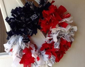 Patriotic fabric wreath