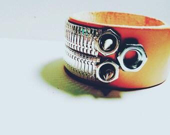 DareByKionde Leather and hardware bracelet