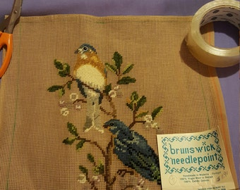BIRDS ON A Limb Needlepoint Canvas with Design already started 8x11Set of two