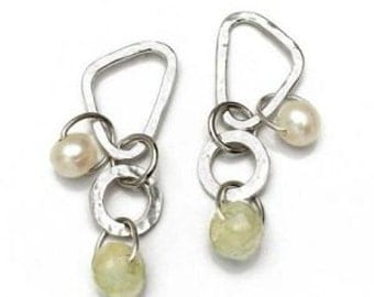 Earrings sterling silver with jade and Preal